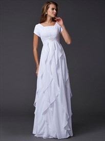 A Line White Short Sleeve Floor Length Prom Dress With Ruffle