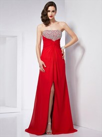 Red Sleeveless Beaded Ruched Floor Length Prom Dress With Split