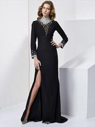 Elegant A Line High Neck Beaded Floor Length Prom Dress With Split