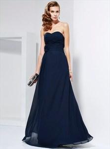 Navy Blue Strapless Sleeveless Ruched Floor Length Chiffon Prom Dress