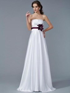 Simple A Line White Strapless Sleeveless Satin Prom Dress With Sash
