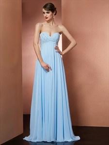 A Line Sweetheart Neckline Sleeveless Beaded Floor Length Prom Dress