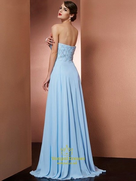 A Line Sweetheart Neckline Sleeveless Beaded Floor Length Prom Dress