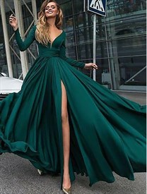 Elegant Emerald Green Long Sleeve Chiffon Long Prom Dress With Split