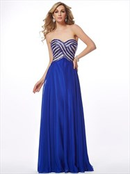 Royal Blue A Line Sweetheart Neckline Chiffon Prom Dress With Sequin