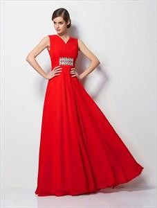Red V Neck Rhinestones Ruched Chiffon Floor Length Prom Dress