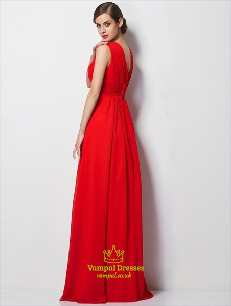 Red V Neck Rhinestones Ruched Chiffon Floor Length Prom Dress