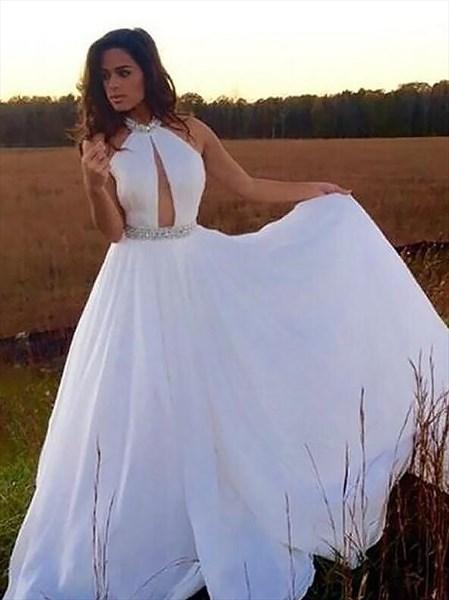 Jeweled Halter Neck Keyhole Sleeveless A Line Chiffon Prom Dress