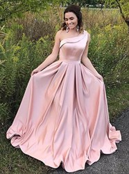 Pink A Line Sleeveless One Shoulder Pleated Satin Prom Dress