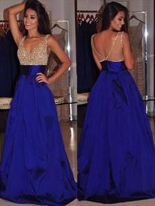 Royal Blue V Neck Beaded Sleeveless Taffeta Floor Length Prom Dress