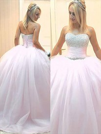 Glamorous Sweetheart Beaded Ruched Waist Prom Dress With Lace Up