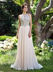 A Line Bateau Sleeveless Beaded Backless Floor Length Prom Dress