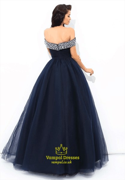Dark Blue Off The Shoulder Cap Sleeve Crystal Beaded Tulle Prom Dress