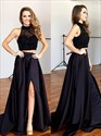 A Line High Neck Lace Top Satin Bottom Two Piece Maxi Prom Dresses