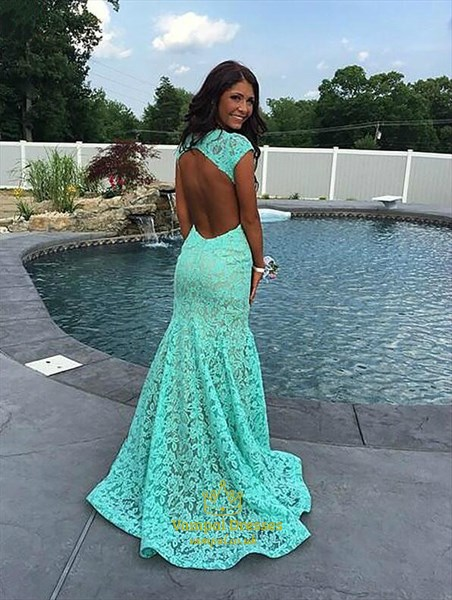 Red Sleeveless Backless Lace Overlay Mermaid Prom Dress With Train