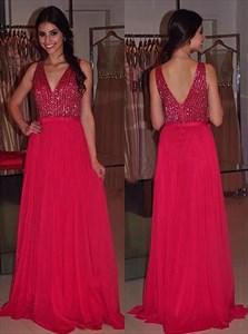Red V Neck Sleeveless Sequin Top Chiffon Floor Length Prom Dress