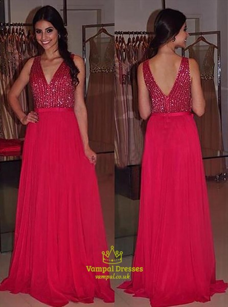 Red V Neck Sleeveless Sequin Top Chiffon Floor Length Prom Dress
