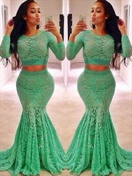 Jewel Neck Long Sleeve Lace Sheath Floor Length Two Piece Prom Dress