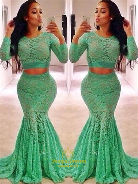 Jewel Neck Long Sleeve Lace Sheath Floor Length Two Piece Prom Dress
