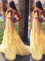 A Line Square Neck Applique Tulle Two Piece Prom Dress With Train