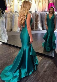 V Neck Sheath Sleeveless Satin Prom Dress With Ruffles And Train