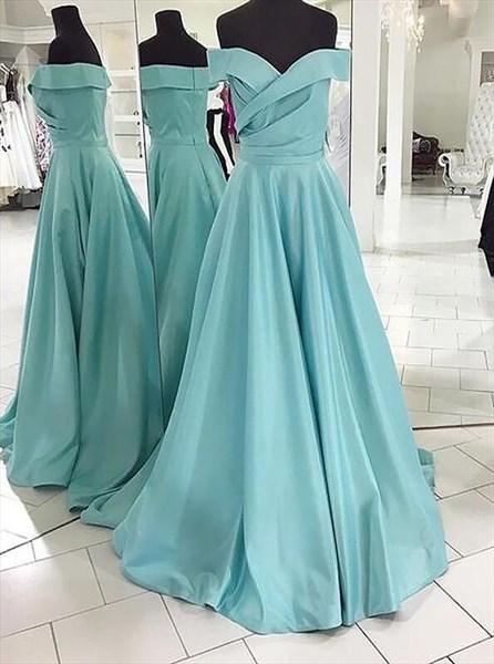A Line Off The Shoulder Ruched Floor Length Satin Prom Dresses