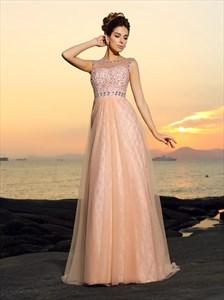 Elegant Pink Bateau Sleeveless Beaded A Line Tulle Prom Dress