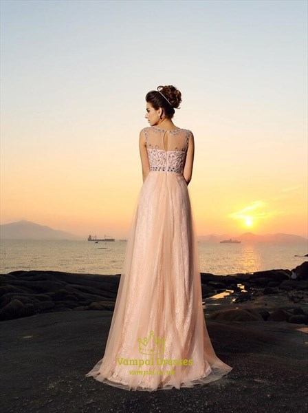 Elegant Pink Bateau Sleeveless Beaded A Line Tulle Prom Dress