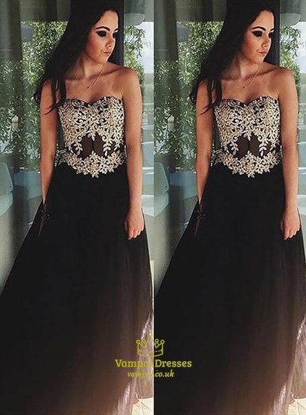 A Line Strapless Sleeveless Applique Floor Length Tulle Prom Dress