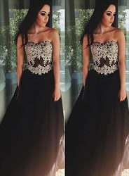 A Line Strapless Sleeveless Applique Floor Length Tulle Prom Dress