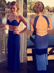 High Neck Beaded Sleeveless illusion back long Two Piece Prom Dress