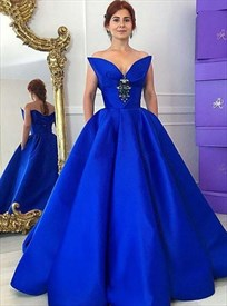 Royal Blue Strapless Crystals Ball Gown Prom Dresses With Bow