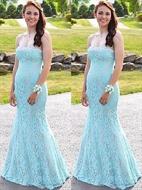 Sky Blue Sleeveless Sheath Floor Length Lace Overlay Prom Dresses