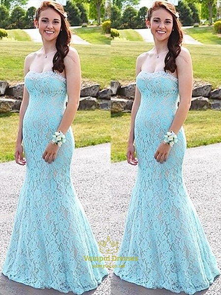 Sky Blue Sleeveless Sheath Floor Length Lace Overlay Prom Dresses