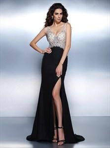 A Line Black V Neck Beaded Sleeveless Chiffon Prom Dress With Split