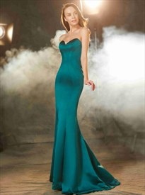 Sweetheart Sleeveless Satin Sheath Floor Length Mermaid Prom Dress