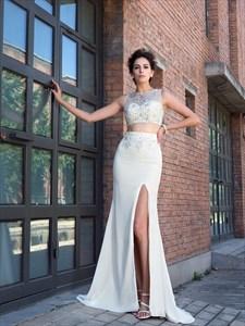 Bateau Beaded Sleeveless Split Two Piece Prom Dress With Small Train