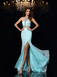 Halter Neck Beaded Floor Length Prom Dress With Split And Train