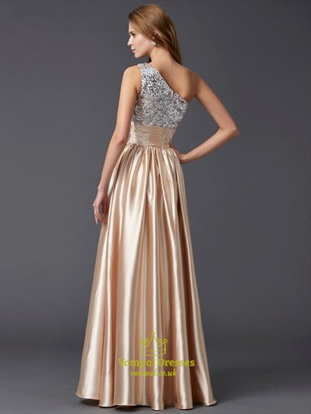 Champagne One Shoulder Pleated Sequin Top Taffeta Long Prom Dress