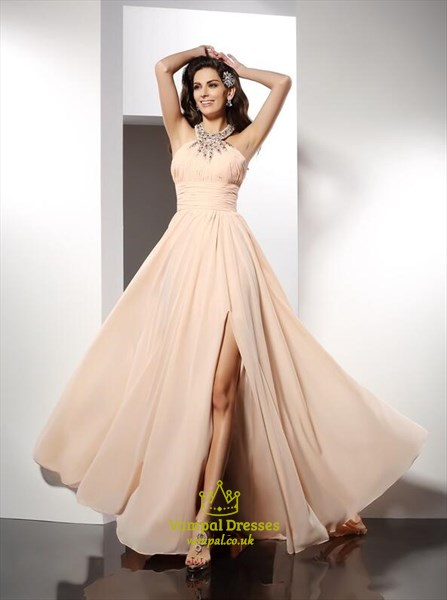 A Line High Neck Sleeveless Crystal Ruched Chiffon Prom Dress