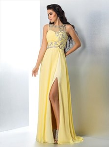 Yellow Bateau Neckline Floor Length Chiffon Prom Dress With Crystals
