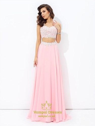 A Line Beaded Applique Floor Length Chiffon Two Piece Prom Dresses