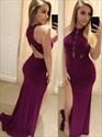 Burgundy Sheath Sleeveless Keyhole Long Prom Dress With Split