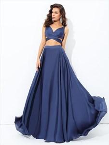 Navy Blue A Line V Neck Side Cutout Two Piece Chiffon Prom Dress
