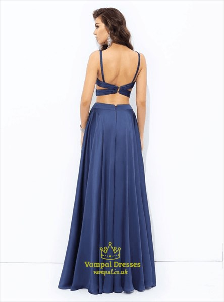 Navy Blue A Line V Neck Side Cutout Two Piece Chiffon Prom Dress
