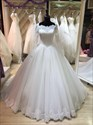 Square Neck Long Sleeve Applique Tulle Wedding Dress With Long Train