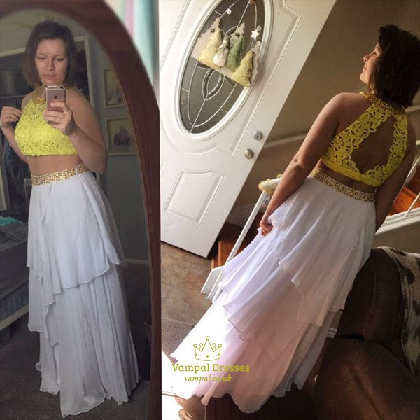 Halter Keyhole Beaded Chiffon Two Piece Prom Dress With Tiered Ruffle