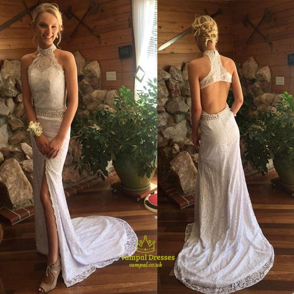 High Neck Beaded Sheath Lace Overlay Prom Dress With Split And Train