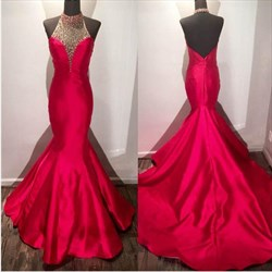 Red Halter Neck Beaded Sleeveless Open Back Sheath Mermaid Prom Dress