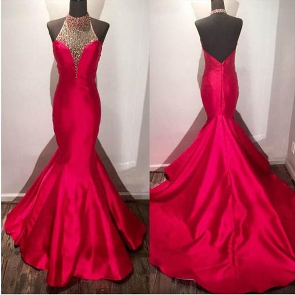 Red Halter Neck Beaded Sleeveless Open Back Sheath Mermaid Prom Dress
